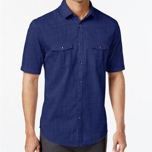 Alfani Men's Warren Textured Short Sleeve Shirt L